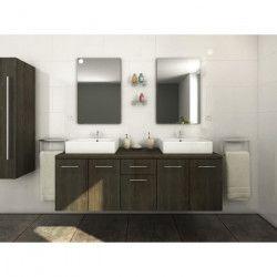 OLGA Ensemble salle de bain double vasque L 150 cm - Décor wengé luisiana