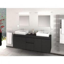CINA Ensemble salle de bain double vasque L 150 cm - Gris laqué mat