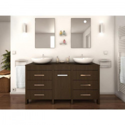 ERA Ensemble salle de bain double vasque L 150 cm - Décor bois zebrano
