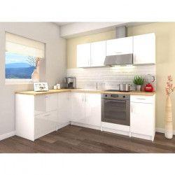 OBI Cuisine complete d`angle L 280 cm - Blanc laqué brillant
