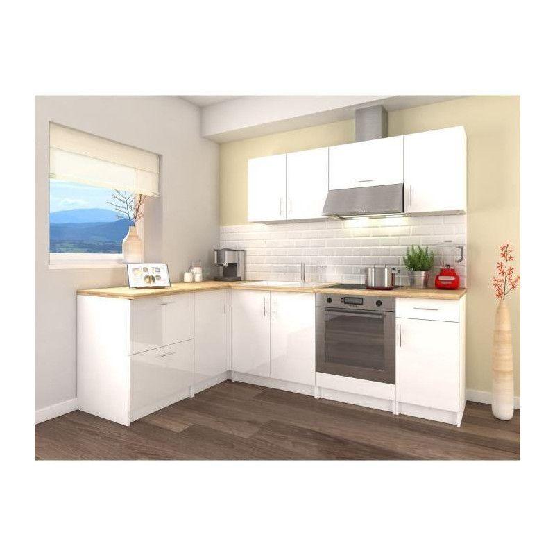 obi cuisine complete d angle l 280 cm blanc laqu. Black Bedroom Furniture Sets. Home Design Ideas