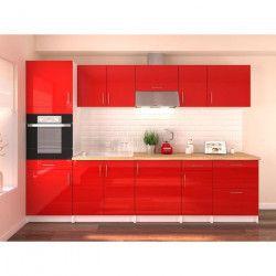OBI Cuisine complete L 300 cm avec colonne - Rouge laqué brillant