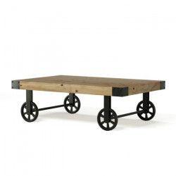 LOFT Table basse sur roulettes vintage en bois pin massif verni - L 110 x l 71 cm