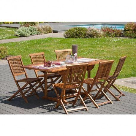 MILO Ensemble repas de jardin en bois teck huilé 6 places - Table  extensible - Marron