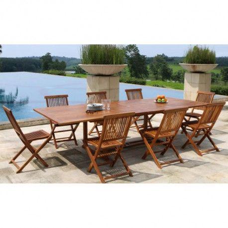 MEXICO Ensemble repas de jardin en bois teck huilé 8 places - Table  extensible - Marron