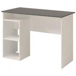 SIA Bureau contemporain décor blanc et gris mat - L 101 cm