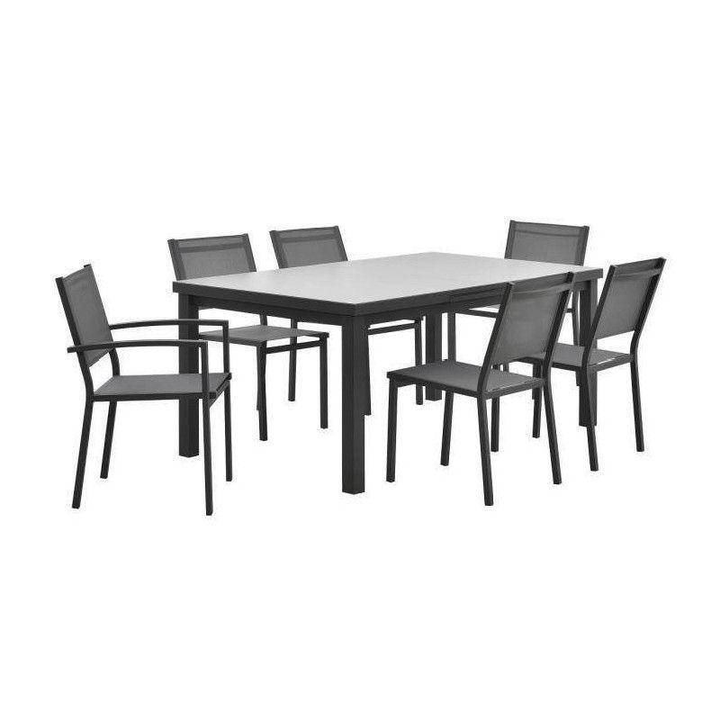 St raph ensemble de jardin 6 places en aluminium - Table jardin aluminium extensible ...