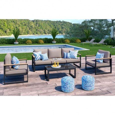 LOUNGITUDE Salon de jardin 5 places en aluminium - Gris foncé avec coussins  taupe