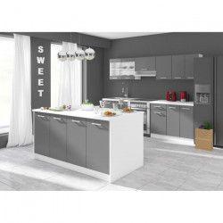 ULTRA Ilot de cuisine L 164 cm avec plan de travail - Gris mat