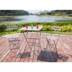 Set de bar 1 table + 2 chaises pliantes en acier - Beige