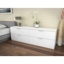BILLUND Commode de chambre style contemporain mélaminé blanc - L 160 cm
