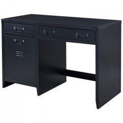 CAMDEN Bureau industriel en métal laqué noir - L 115 cm