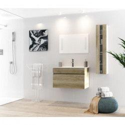 ALBAN Ensemble salle de bain simple vasque avec miroir L 80 cm - Décor bois effet chene vieilli