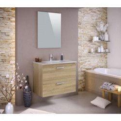 STELLA Ensemble salle de bain simple vasque avec miroir L 80 cm - Décor chene