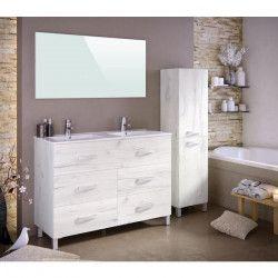 STELLA Ensemble salle de bain double vasque avec miroir L 120 cm - Blanc effet bois