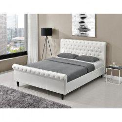 CHAMBORD Lit adulte contemporain tissu aspect velours blanc - Sommier et tete de lit capitonnée inclus - l 160 x L