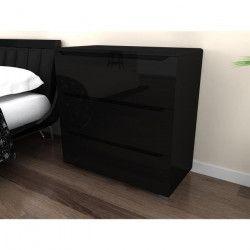 URBANO Commode de chambre contemporaine laqué noir brillant - L 80 cm