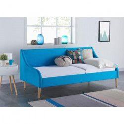 SCANDI Lit banquette + sommier scandinave tissu bleu turquoise - l 90 x L 190 cm