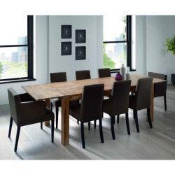 MILES Table a manger extensible de 6 a 12 personnes scandinave en chene massif abouté huilé - L 190 a 270 x l 90