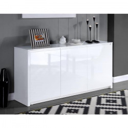 POLARIS Buffet contemporain laqué blanc brillant - L 160 cm