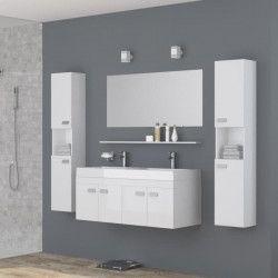 ALPOS Ensemble salle de bain double vasque avec miroir L 120 cm- Laqué blanc brillant