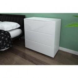 URBANO Commode de chambre contemporain laqué blanc brillant - L 80 cm