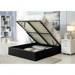 MAJESTY Lit coffre adulte contemporain simili noir + sommier - l 140 x L 190 cm