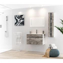 ALBAN Ensemble salle de bain simple vasque avec miroir L 80 cm - Décor bois gris