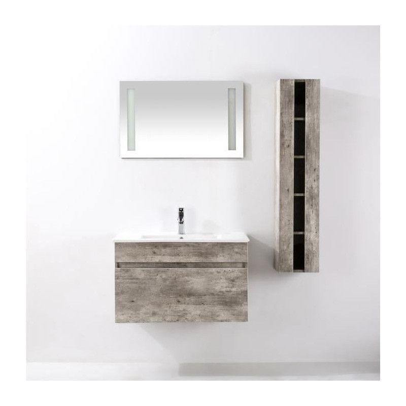 Alban ensemble salle de bain simple vasque avec miroir for Miroir bois gris