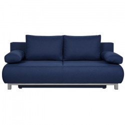 SHILO Banquette convertible 3 places - Tissu bleu nuit - Style contemporain - L 192 x P 93 cm