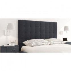 SOGNO Tete de lit capitonnée style contemporain - Tissu noir - L 160 cm