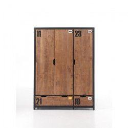 ALEX Armoire de chambre style industriel pin massif - L 148 cm