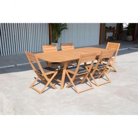 Ensemble de mobilier de jardin 6 places - 1 table
