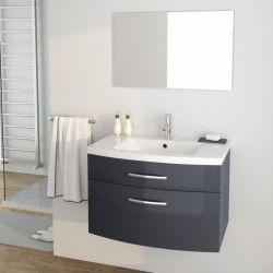 PACOME Ensemble meubles de salle de bain simple vasque + miroir L 80 cm - Gris laqué brillant