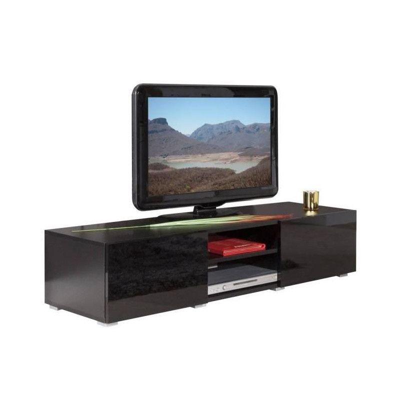 lime meuble tv contemporain noir laqu l 140 cm. Black Bedroom Furniture Sets. Home Design Ideas