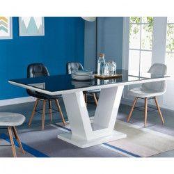 QUEEN Table a manger 8 personnes contemporain - Blanc brillant + Plateau en verre trempée noir - L 180 x l 90 cm