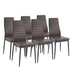 SAM Lot de 6 chaises de salle a manger en simili marron - Contemporain - L 50 x P 44 cm