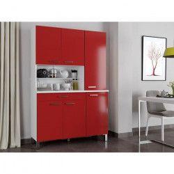 ECO Buffet de cuisine contemporain L 120 cm - Blanc et rouge mat