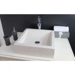 Vasque en terrazzo Kiara 40x40cm ton pierre