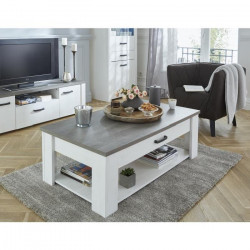 MARQUIS Table basse style contemporain décor pin et décor chene - L 120 cm