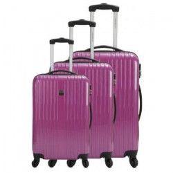 FRANCE BAG Set de 3 Valises Rigide ABS et PC 4 Roues 50-60-70cm Fushia