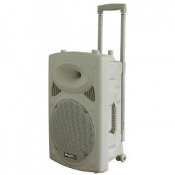 IBIZA PORT15VHF-BT-WH Systeme de sonorisation portable autonome 15`/38cm avec USB-MP3/REC/Bluetooth/VOX/2 MICROS