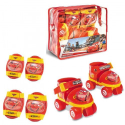 CARS Rollers Réglables et protections (taille 22 a 29) (Patins + Genouilleres + Coudieres) - Disney