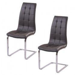 LUGANO Lot de 2 chaises de salle a manger - Simili gris - Contemporain - L 48 x P 45 cm
