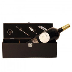 Coffret Chic noir - 4 accessoires de sommelier - Château Beausoleil 2014 AOC - Vin de Bordeaux - Rouge - 150cl