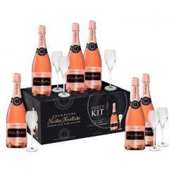 Champagne Nicolas Feuillatte Carton de 6 bouteilles de rosé 75 cl + 6 flûtes