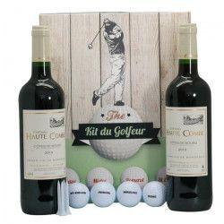 Coffret Golf 4 balles + tee + 2 btles de Bordeaux