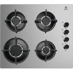 ELECTROLUX KGG6407M - Table de cuisson gaz - 4 foyers - L 58 x P 51 cm - Revetement verre - Silver