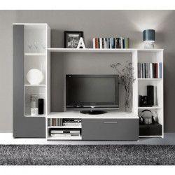 FINLANDEK Meuble TV mural PILVI contemporain blanc et gris mat - L 220,4 cm