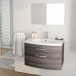PACOME Ensemble meubles de salle de bain simple vasque + miroir L 80 cm - Gris effet bois